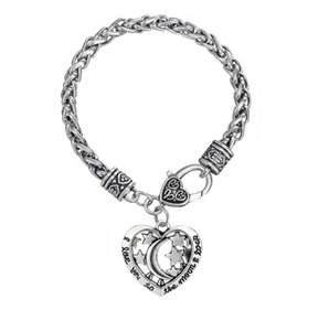 GX114 Engraved I Love You To The Moon And Back Hollow Star And Moon Heart Charm Lobster Clasp Antique sliver Color pendant Bracelet