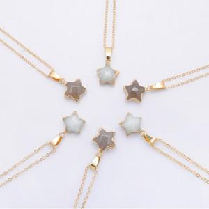 Pentagram yıldızı pembe Kristal Druzy Chakra Doğa Taş Altın Kaplama Geode Druzy Kuvars kolye DIY Altın Zincir Kolye 50cm