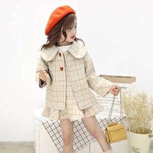 Nueva moda 2019 versión coreana de la ropa de los niños muchachas de la ropa de los niños de la princesa traje de lana de las mujeres capa tesoro