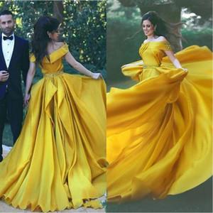 Elegantes vestidos de noche de color amarillo, vestidos formales 2019 fuera del hombro Vestido de fiesta con marco de diamantes Vestidos de noche con cuentas de cristal Batas de soirée