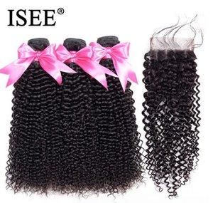 2020 New ISEE HAIR Malaysian Kinky Curly Bundles With Closure Remy Human Hair Bundles With Closure 4*4 Swiss Lace 3 Bundles Hair Weaves