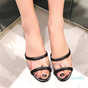 Moda 2020 mulas Praia Sandals PVC transparente Chinelos Verão couro genuíno Salto Chucky Low Slides Shoes Sandals