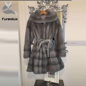 Hoody İnce Kemer Kış Orijinal Kadınlar Kürk Kabanlar ile Furealux 2019 Lüks hakiki Kaban Ceket