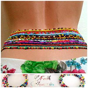 Boho Praia jóias duplo cintura Cadeia Bikini Cadeia Summer Fashion Corpo Beach jóias Arroz Bead cintura cadeia de jóias