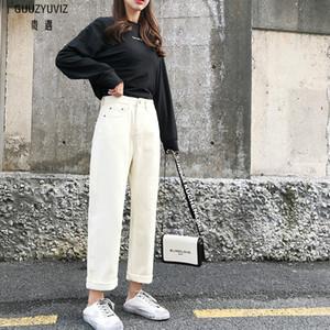Tamaño GUUZYUVIZ Casual Jeans Mujer Plus Vaqueros Mujer Primavera 2019 de cintura alta Kot pantolon ancho sólido pernera del pantalón de mezclilla