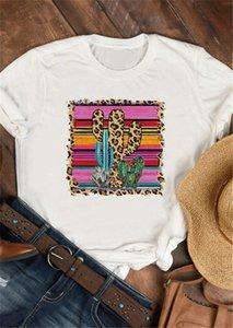 Süper Chic Cactus Leopar Baskılı Vintage Kadınlar Tişört O yaka Kısa Kollu Harajuku Tişörtü Sevimli Renkli Grafik Tees Bayanlar