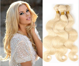 Weaves Brasilian Body Wave Capelli Umani 613 Bionda Due tono Colore Full Testa 3pcs / lot Double WeFts Remy Capelli Estensioni