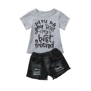 Sagace Kinder Sets Kleinkind Kindkleidung Brief Kinderbekleidung Sommer-Baby setzt T-Shirt + Denim Shorts Outfits Jly3