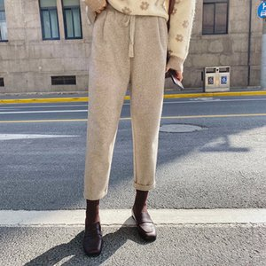 MISHOW Winter Women Casual Woolen Pants Korean Loose High Waist Color Solid Color Elastic spider Pocket Pant MX19D2137 Y200418