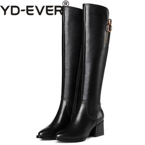 YD-EVER Mode Frauen Overknee Hohe Stiefel High Heels Echtes Leder Spitz Partei Schuhe Frau Weibliche Enge Stiefel