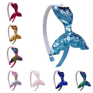 Chica diadema de lentejuelas niños cola de sirena palos de pelo banda de pelo bebé princesa banda de cabeza Boutique broche de pelo accesorios T2C5193