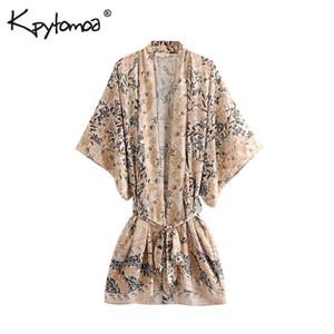 Boho Chic Summer Vintage Floral Print Sharpen Giacche per maglieria Kimono Donna 2019 Fashion V -section Y19071201