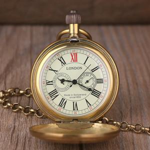 빈티지 레트로 구리 시계 남자 합금 런던 기계 주머니 시계 금속 체인 Steampunk 로마