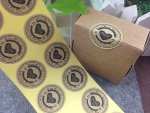 3cm 500pcs / porción Gracias amor pegatinas autoadhesivas kraft etiqueta autoadhesiva DIY hecho a mano de regalos / torta / caramelo de Kraft de la etiqueta engomada