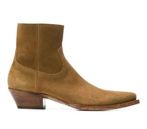 Homem França Paris Fashion Lukas 40 Botas Nut Brown Calf Leather Suede Slp de inspiração ocidental Oculto colaterais Zip Botas Sapatos
