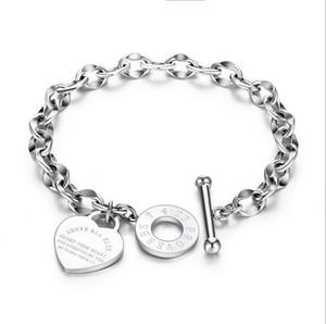 Elegent Love Armbänder für Frauen Mädchen - Edelstahl Gliederkette Herzanhänger Armband für Frauen 18cm Länge Knebelverschluss