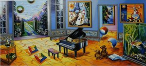 0a007# Alexander Astahov - BLACK PIANO Home Decor Handpainted &HD Print Oil painting On Canvas Wall Art Canvas Pictures