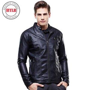 HTLB novíssimo Homens Jaqueta de couro Top Quality Masculino Outono Inverno Jaqueta de couro Brasão Masculino Moda Masculina 8627