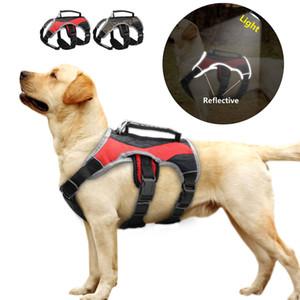 Reflexivo Nylon Grande Cão K9 Harness malha Dog acolchoado Training Vest ajustável com elevador Handle Para Labrador Golden Retriever