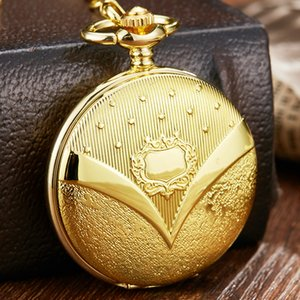 Luxury Golden Steampunk Hollow Skeleton Mechanical Pocket Watch Men Retro Roman Dial Pocket FOB Watch With FOB Chain Male Clock