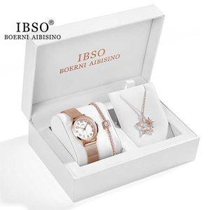 IBSO Women Watch Gift Set cristal Colar Pulseira relógio de quartzo Define Feminino Jóias Set Moda Rose Gold