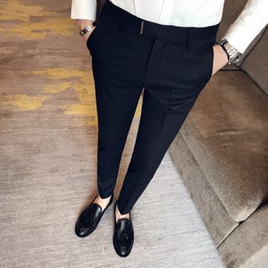 2019 New Fashion Boutique Striped Casual Mens Business Suit Pants   Male Slim Black Grey Casual Trousers