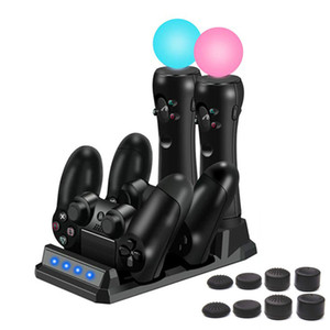 PS4 4 in 1 Charging Dock Station Stand for Sony Playstation 4 PS4 Slim Pro PS Move Controllers Charger Storage LED Indicator