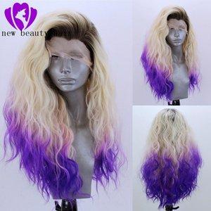 Свободная часть высокой температуры волокна блондинка ломбера фиолетовый парик Cabelo 360 Плутон Фронтальная Длинная вода волна волос полный парик Синтетический парик фронта шнурка