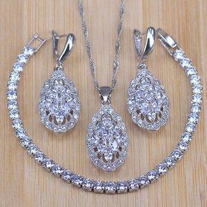 Promosyon Beyaz Kübik Zircnoia Kadınlar Için 925 Ayar Gümüş Gelin Takı Setleri Bilezik Küpe Kolye Kolye