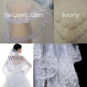 Свадебные аксессуары Фата два слоя Белый / Ivory Свадебные аксессуары Пограничный Свадебная фата с расческой