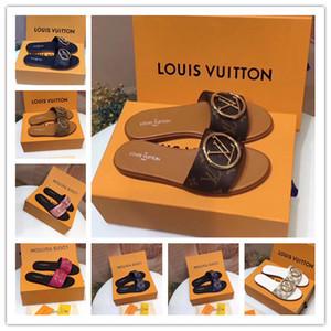 Neue Frauen-LOCK IT FLAT MULE Luxus-Designer-Schuhe Damen Sandalen 1A64MH Designer Slipper Schuhe beiläufige Art und Weise Goatskin Größe 35-42 wit