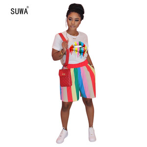 SUWA 2020 New Style Casual Sports 2 Piece Set Short Sleeve T Shirt Top+Shorts Contrast Striped Women Sets Clothing Streetwear