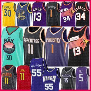 Stephen Curry Trae Devin Giovane Booker pallacanestro Jersey Steve Nash Hawk Charles Barkley Jason Williams DeAaron Marvin Fox Bagley III Webber