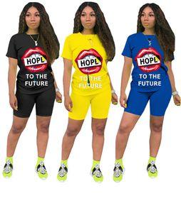 Womens clothing short sleeve outfits 2 piece set summer women clothes jogger sportsuit sweatshirt T-shirt letter print sport suit klw3985