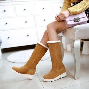 2017 Botas de Inverno Grande Tamanho 34-43 das mulheres Sapatos Gladiador Inverno Neve Botas Moda alta Longo Low Heel Marti Ladieskeep Quente 583