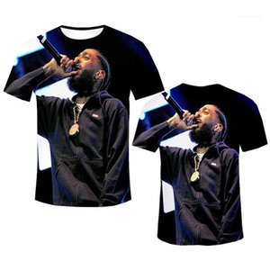 Preto 3D Imprimir camiseta Moda Designer Mens TShirts Rapper Nipsey Hussle Souvenir Crenshaw manga curta Plain