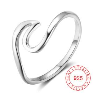 высокое качество мода женщины девушка аксессуары ювелирные изделия сердцебиение волна реального стерлингового серебра 925 палец кольцо молодая девушка ювелирные изделия Китай Оптовая