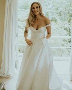Simple Off The Shoulder Satin Wedding Dresses Bridal Gowns Plus Size Covered Button Sweep Train Wedding Dress vestidos de novia