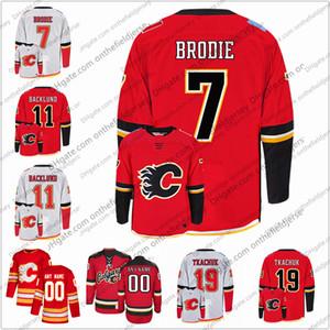 Calgary Flames # 7 T. J. Brodie 11 Mikael Backlund 19 Matthew Tkachuk 21 Garnet Hathaway maglie da Hockey su ghiaccio cucite S-3XL