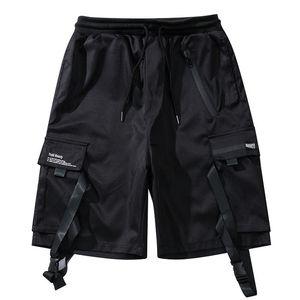 2019 Tactics Shorts Cargo Hombres Streetwear Ribbon Shorts Reflectantes Hombre Verano Black Bottoms Multi-bolsillo XD227