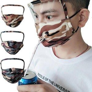 Пейте соломки Face Shield 2 в 1 Полное Маски для лица Camo против пыли Противотуманные Прозрачный глаз Щит моющийся многоразовый Cotton Face Mask OOA8177