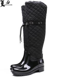 Женщины Резиновые Лоскутные Дождевые Сапоги Квадратные Каблуки Над Коленом Зимой Теплые Меховые Дождевые Сапоги Водяная Обувь Женщина