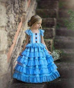 Hot sale tutu girls dresses lace baby girl dress fashion long tiered princess dress kids dresses party girls dress formal dresses B645