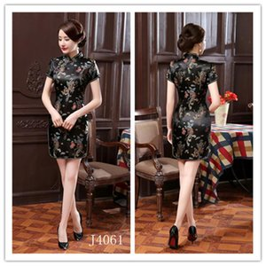 New Women Chinese Traditional Silk Satin Dress For Female Elegant Cheongsam Tang Suit Dragon Sexy Print Split Evening Party Gown