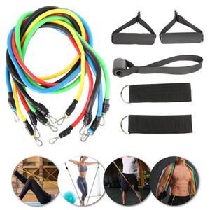 11pcs aptidão Tração da corda Resistência Bandas Latex Força Ginásio equipamentos para a casa Elastic Exercícios Body Fitness Equipment Workout