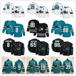 Mens gioventù Donne San Jose Sharks 65 Erik Karlsson Joe Pavelski Joe Thornton Brent Burns Logan Couture Evander Kane casa Fuori casa Hockey maglie