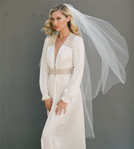 Simple elegante de marfil blanco del velo de novia con peine suave tul largo de dos capas Velos de novia Accesorios de boda Mantilla 2019
