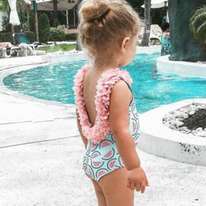 New Cute Kids Арбуз печать Купальник 2020 Взрыв девушка Лепесток кружево Цельная Цветочные Купальники купальный костюм бикини лето