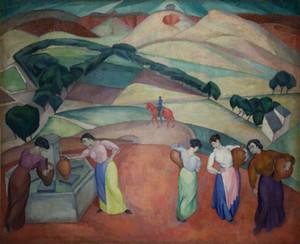 Diego Rivera Am Brunnen von Toledo Wohnkultur Handwerk / HD-Druck-Ölgemälde auf Leinwand-Wand-Kunst-Leinwandbilder 191117