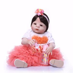 Bebe Reborn 23 pouces 57cm bebe Reborn Baby Poupées plein Silicone Reborn Bebe Poupée Vinyle Jouets cadeaux cadeau mignon Pour Filles et garçons coeur rose
